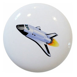 Carolina Hardware and Decor, LLC - Space Ship Rocket Ceramic Cabinet Drawer Knob - New 1 1/2 inch ceramic cabinet, drawer, or furniture knob with mounting hardware included. Also works great in a bathroom or on bi-fold closet doors (may require longer screws).  Item can be wiped clean with a soft damp cloth.  Great addition and nice finishing touch to any room.