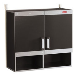 Rubbermaid - Rubbermaid FastTrack Garage Wall Cabinet Multicolor - 2180-4679 - Shop for Cabinets from Hayneedle.com! Anchor your FastTrack Rail System with the Rubbermaid FastTrack Garage Wall Cabinet. This heavy-duty lower unit attaches to the wall with the anchor system (sold separately) and provides a low storage area for larger garage or workshop items. Inside two shelves - one fixed and one adjustable height - can hold up to 100 lbs. each sitting on top of two additional open storage cubbies. The .75-inch-thick laminate build is coated in black and silver designed to withstand moisture nicks and scratches. FastTrack sold separately.About RubbermaidRubbermaid represents innovative high-quality products that make life a little simpler. Starting with housewares Rubbermaid has expanding into various areas including home and garden and commercial products. Rubbermaid has been recognized as a Brand of the Century and is one of only 100 companies named as having an impact on the American way of life. Headquartered in Atlanta GA. Rubbermaid can be found almost anywhere from grocery stores to hardware stores to your own kitchen.Being involved in the local community is a cornerstone of the Rubbermaid company and they continually invest in programs that matter to employees and enrich the lives of everyone from child to adult.