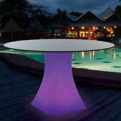Illuminated Outdoor Dining Table - Illuminated outdoor dining table displays seven colors and is rechargeable.