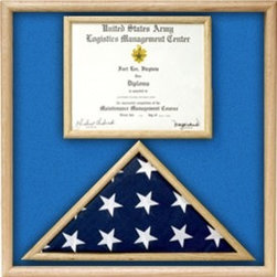 Air Force Flag and certificate Display case - Air Force Flag and document diisplay case