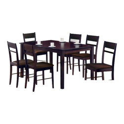 "CBSelma7pc - 7-Piece Selma Collection Espresso Finish Wood Dining Table Set - 7-Piece Selma collection espresso finish wood dining table set with slat back chairs and fabric seats. This set includes the table with tapered legs and 6 side chairs upholstered with fabric seats and slat backs. Table measures 32"" x 56"" X 30"" H. Chairs measure 38"" H to the back. Some assembly required."