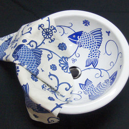 "Custom Designs - ""Blue Fish"" Painted on AP-1440 white Round Medium undermount 12"" diameter. We match the fabric sent by customer."