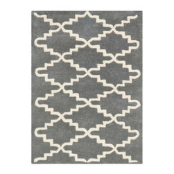 Safavieh - Blythe Hand Tufted Rug, Dark Grey / Ivory 2' X 3' - Construction Method: Hand Tufted. Country of Origin: India. Care Instructions: Vacuum Regularly To Prevent Dust And Crumbs From Settling Into The Roots Of The Fibers. Avoid Direct And Continuous Exposure To Sunlight. Use Rug Protectors Under The Legs Of Heavy Furniture To Avoid Flattening Piles. Do Not Pull Loose Ends; Clip Them With Scissors To Remove. Turn Carpet Occasionally To Equalize Wear. Remove Spills Immediately. A timeless quatrefoil motif makes a global design statement in the subtle but sophisticated Desai area rug. These stunning hand-tufted wool rugs are crafted in India to recreate the elegant look of hand-knotted carpets for today's lifestyle interiors.