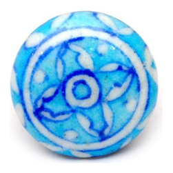 """Knobco - Floral Designs, Turquoise and white - Turquoise and white hand painted cabinet knobs from Jaipur, India. Decorative ceramic cabinet knobs for your kitchen cabinets. 1.5"""" in diameter. Includes screws for installation."""