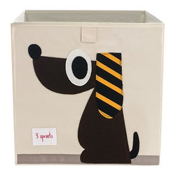 3 Sprouts - Dog Storage Box - The 3 Sprouts storage box is the perfect organizational tool for any room. With sides reinforced by cardboard our storage box stands at attention at all times. Made to fit almost all cubby hole shelving units it adds a pop of fun to every room. Whether standing alone or placed in a cubby hole the 3 Sprouts storage box makes organizing easy.
