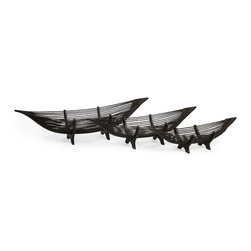 iMax - Kawayan Boat Bowls, Set of 3 - Chocolate brown Canoe shaped bamboo decor bowel, set of three.