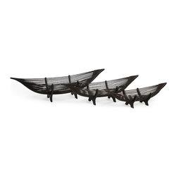 iMax - Kawayan Boat Bowls, Set of 3 - Chocolate brown Canoe shaped bamboo decor bowel, set of three.