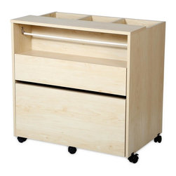 South Shore - Craft Storage Cabinet in Natural Maple Finish - Three open storage bins on top. A rod for holding rolls of ribbon and a shelf for storage baskets. Top storage drawer perfect for pencils, storage baskets and small tools. Bottom drawer can hold letter or legal size folders. Five multidirectional casters, two of them with built-in stops. Full-extension metal slides. All surfaces are laminated. Warranty: Five years limited. Made from laminated particle boards. Pure white finish. Made in Canada. Small drawer: 26.63 in. W x 13.63 in. D x 2.88 in. H. Large drawer: 26.63 in. W x 15.88 in. D x 8.88 in. H. Overall: 30 in. L x 19.5 in. W x 30 in. H (76 lbs.). Assembly InstructionsEvery artist needs a dedicated space  be it for DIY, sewing, or making jewelry. This mobile, versatile, and compact storage unit means you can keep all your creative materials in one place and take them with you, from room to room, without having to put them all away when youre not working on something. And its neutral finish and clean lines mean it also blends easily into the decor of any room in your home. So you can spend more time being creative and less time organizing your space!
