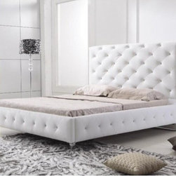 TOSH Furniture - Modern White Queen Leather Bed - TOS-FF-B9039-WHQ - Contemporary modern design