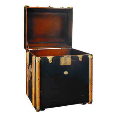 Authentic Models - Authentic Models MF079B Stateroom Trunk End Table, Black - Victorian luggage was made to ship by train, steamer, and horse drawn coach. Trunks were sent ahead and handled exclusively by porters. The classic maple hoops, strengthened by brass hardware and reinforced corners, protected the trunk and its contents from damage. The tall, square shape of our 'End table trunk' was designed to fit easily into tight cabins during extensive travel. Yet it was large enough to accommodate a tall, black stovepipe hat! Enjoy the flavor of a bygone age of luxury. Combine its fin-de-siecle appeal with the practicality of efficient storage.