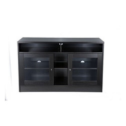 """Jesper Office - 47"""" TV Stand - Features: -Laminate wood material.-Pre mounted levelers.-Ventilation.-Glass doors.-Wire management.-Adjustable shelves.-Distressed: No.-Powder Coated Finish: No.-Gloss Finish: No.-Material: Manufactured Wood.-Solid Wood Construction: No.-Exterior Shelves: Yes -Number of Exterior Shelves: 3..-Drawers: No.-Cabinets: Yes -Number of Cabinets: 2.-Number of Doors: 2.-Door Attachment Detail: Hinges.-Interchangeable Panels: No.-Cabinet Handle Design: Knobs.-Number of Interior Shelves: 2.-Adjustable Interior Shelves: Yes..-Scratch Resistant : Yes.-Casters: No.-Accommodates Fireplace: No.-Fireplace Included: No.-Media Player Storage: Yes.-Media Storage: No.-Remote Control Included: No.-Batteries Required: No.-Swatch Available: No.-Lift Mechanism: No.-Expandable: No.-TV Swivel Base: No.-Integrated Flat Screen Mount: No.Dimensions: -Overall Product Weight: 135.-Overall Height - Top to Bottom: 29.-Overall Width - Side to Side: 47.-Overall Depth - Front to Back: 20.-Shelving: Yes.-Cabinet: Yes.-Legs: Yes.Assembly: -Assembly Required: Yes.Warranty: -Manufacturer provides 5 years warranty.-Product Warranty: 5 Years."""