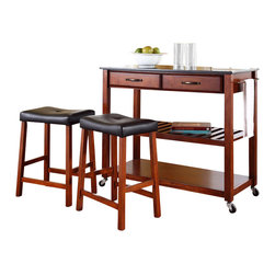 Crosley Furniture - Crosley Solid Black Granite Top Kitchen Cart/Island w/ Stools in Classic Cherry - Crosley Furniture - Kitchen Carts - KF300544CH