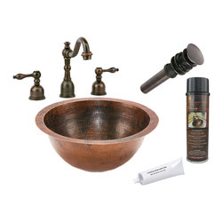 Premier Copper Products - Small Round Under Counter Sink w/ ORB Faucet - PACKAGE INCLUDES: