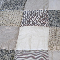 Cream and Gold Sari Brocade Indian Quilt.