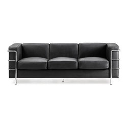 "Zuo Modern - Contemporary Italian Leather Sofa in Black - The exceptional Steel Accent Full Length Black Leather Sofa displays European style and flair that evokes classic Le Corbusier furniture designs.  The 56 inch wide sofa features a sturdy steel tube chrome frame & legs with Black Italian Leather wrapped cushions.  The Black Leather 3 Seat Sofa is a magnificent combination of style, comfort and purity of design!  This classic contemporary sofa measures 76"" long and features soft and supple Black Italian leather wrapped cushions and an attractively contrasting chromed steel frame.  Wrap around chrome accents and frame add interest to traditional leather and the 16 inches high seat makes it easy to drop into at the end of the day. * Italian Leather Wrapped Cushions. Steel Tube Chrome Frame & Legs. 26"" H x 30"" W x 56"" L. Seat: 16"" H"