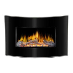 Lofty - Valencia Wall Mount Electric Fireplace - Lofty Valencia BG03CB Curved Face Wall Mount Electric Fireplace - LED Wall mount design, curved tempered glass front panel, realistic flame effect, adjustable flame brightness, safety thermal cut-off device, 750W and 1500W heat settings, remote control. Includes Hook, Anchors, Stator. Dimensions: 4.76 x 32.28 x 20.47