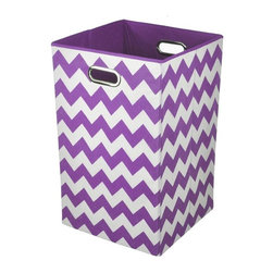 Modern Littles - Color Pop Purple Chevron Laundry Bin - Keep laundry tidy, organized and add a pop of colorful decor to a room with this folding laundry bin. Perfect for the bathroom, closet or laundry room, it folds flat when not in use for easy storage, and the lightweight design features handles for effortless carrying.
