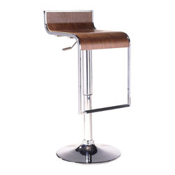 Wholesale Interiors - LEM Piston Style Walnut Stool - Adjustable curved barstool crafted of curved composite wood and chromed steel, gas-lift design. The color and grain of natural/walnut color stool vary from unit to unit.
