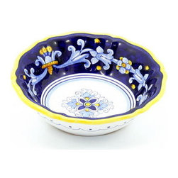 Artistica - Hand Made in Italy - Antico Deruta: Medium Cereal Bowl - Antico Deruta Collection: Throughout the years, our Antico Deruta collection has been always considered the most formal depiction of the Ricco Deruta pattern. Its classic Arabesque decorative pattern is composed of rhythmic, curvilinear designs painted in a unique combination of regal blue and bright yellow. The foliated scrollwork motif featured in this collection was also employed in the architectural decorations of late Roman and Renaissance periods.