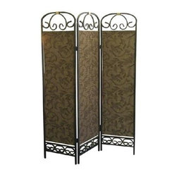 ORE International - Metal & Fabric 3-Panel Privacy Screen in Anti - Scrolled design elements and embossing that gives the metal panels the look of rich brocade fabric enhance this stunning room divider, an elegant way to add architectural interest to any decor. Finished in antique gold tone, the unit features three panels and will be a lovely addition to any design. Lovely leaf and vine pattern. Folds flat for easy storage. Metal frame. Powder coat finish. 50 in. L x 6 in. W x 72 in. H (28 lbs.)Create privacy, add texture or define a space with this handsome room divider.