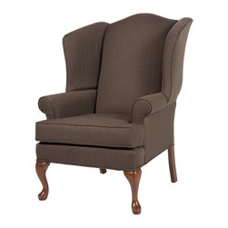 Comfort Pointe - Erin Brown Wing Back Chair - Solid hardwood frame ensures long lasting durability. No Assembly Required. Drop-In Coil system for a more comfortable seat. Seat Cushion is wrapped in Dacron which is soft polyester fibers for better quality and comfort. Foam density is 1.8. Complete with welting on all seams and double welting above the front legs.. Fabric: Textured fabrics which gives a look of linen but offer extra durability and clean-ability. Fabric Content: 100% Polyester. Finish: Cherry Finish. Seat Height: 19.5 inches. Cushion Depth: 20 in.. Arm Height: 24.5 inches. 28 in. W x 35 in. D x 42 in. H (45 lbs.). Made in U.S.A.The Erin chair is proudly handcrafted in the USA and features a solid hardwood frame, drop-in coil suspension system which offers superior comfort and stability, and welting on all seams.  The textured fabric has the classic look of linen and will compliment any setting.  You'll enjoy sitting in this chair for hours at a time.