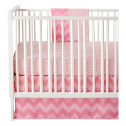 Pink Sugar Zig Zag Baby Crib Bedding Set 4 Piece Set - Pink Sugar Zig Zag Baby Crib Bedding Set 2 piece set