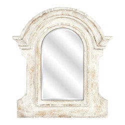 iMax - iMax Beautris Distressed White Framed Wall Mirror X-53267 - With the frame inspired by ancient Roman architecture but given a weathered white finish, the Beautris mirror will blend perfectly in your casual or cottage decor.