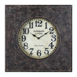Uttermost - Jardins Square Wall Clock - You had a great time in Paris — why not bring it home. This hand-forged rustic metal timepiece has an antiqued clock face. Its French inscriptions will serve as a daily reminder of your favorite destination.