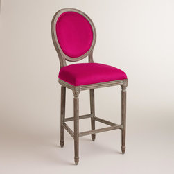 World Market - Fuchsia Paige Barstool - A classic with a round back silhouette, our Fuchsia Paige Barstool is crafted of American white oak with carved details and a distressed finish. Plush velvet upholstery makes this exclusive barstool a stylish seating update for the home bar.