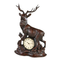 Large Stag Clock - Let the Large Stag Clock strike a pose on your desktop. Stunning and impressive this desktop clock is made to transform any mantel from mediocre into majestic. It features a proudly poised stag stepping over the framed ivory clock face. Beautifully carved floral designs accent the base. It's crafted of handsome hand-cast resin with a rich burlwood hand-finish. Grand and gorgeous this mantel clock makes a thoughtful gift too.About OK Casting LLCSince 1993 OK Casting has been serving the home gift and private artist market with memorable home decorative accessories. Hand-made and manufactured in the United States OK Casting's products are created from the finest and most durable resins. Whether for their lamps wall decor bookends or statutes OK Casting is known for exquisite craftsmanship and attention to detail. Inspired by lodge wildlife and equine artwork each piece radiates beauty and quality for your home cabin or lodge decor.