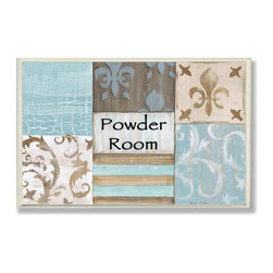 Stupell Industries - Powder Room Aqua and Brown Patchwork Bath Plaque - Made in USA. Ready for Hanging. Hand Finished and Original Artwork. No Assembly Required. 15 in L x 0.5 in W x 10 in H (2 lbs.)What better way to add class to your home than with a wall plaque from the Stupell Home Decor Collection? Made in the USA and featuring original artwork,you are sure to find the perfect match for wherever you are looking to design. Each plaque comes mounted on sturdy half inch thick mdf and features hand painted edges.  It also comes with a sawtooth hanger on the back for instant use.