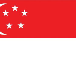 Singapore World Flag 2x3 Nylon - Nylon Outdoor World Flag U.S. Flag Store's Singapore World Flag is printed on nylon flag fabric created specifically for outdoor use. This ensures that this is one of the toughest Singapore Flags on the market. In addition to being exceptionally tough, nylon is also very lightweight. Even though this flag measures 2' x 3' it will fly in the gentlest breeze. Finally the design of the Singapore flag is accurate to the specifications of the United Nations, and finished with high quality headers and rust-resistant grommets.