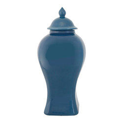 Selectives - 16-Inch Tall Magic Decorative Urn - This truly decorative urn crafted from ceramic comes with a lid and is beautifully glazed in blue color.  This will look great on your mantle or table
