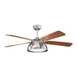 """Kichler 3-Light 54"""" Ceiling Fan - Polished Nickel - Three Light 54"""" Ceiling Fan Blade pitch: 14. Blade span: 54"""". Blade material: ply. Mounting slope-pitch: 30 degrees or 7/12. Includes 8"""" length x 1"""" (o. D) downrod. Full function 3 speed cooltouch� control system: 3 speeds forward and reverse / motor off / lights on/off plus full range dimming (included). Speeds: 3. Motor type: ac induction. Integrated (4) x 40 watt e-12 krypton t3 lamps (included). Not low ceiling adaptable. Motor width: 14. 50"""". Motor size: 188mm x 25mm. Watts: high - 69, med - 40, low - 14. Rpm: high - 160, med - 112, low - 63. Cfm: high - 5878, med - 4290, low - 2254. Airflow efficiency - CFM per minute per watt: high - 85, med - 107, low - 161"""
