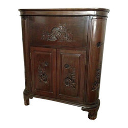 Asian Style Cherry Bar & Wine Cabinet - This Asian style dark cherry curved cabinet would make for a handsome bar cabinet! There's plenty of storage with a smooth top that opens up to reveal beautiful carvings under the panel. The front panel opens downward and the second top two panels open to reveal a sunken storage for 6 wine bottles. Both side cabinets have a fixed bottom shelf and 3 removal shelves. Both corner cabinets can hold short stemwear or tumblers. The front two doors have fixed bottom shelves (the right door has latch closure, but the left latch is missing). This piece sits on four elevated feet that are also carved.
