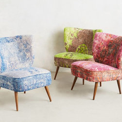 Moresque Chair - A classic chair upholstered in an over-dyed vintage rug is simply stunning!