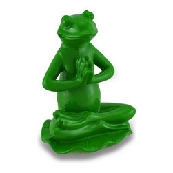 Zeckos - Leaf Green Lotus Position Yoga Frog Figurine - This wonderful meditative frog sits calmly in the lotus pose with legs crossed and palms together. Made of hand-painted cold-cast resin, this little yoga buddy measures 5 1/2 inches tall, 3 3/4 inches wide, and 3 1/2 inches deep. Place the adorable leaf green yogi on any surface and feel his positive vibrations fill the room. Namaste.