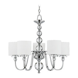 "Quoizel - Contemporary Downtown Collection 28"" Wide 5 Light Chandelier - Get cool sleek sophistication with this chic and contemporary chandelier. The design features shining glass ball accents on the center column. Five opal etched glass shades are suspended at the end of the graceful bent arm frame. Polished chrome finish. Part of the Quoizel lighting collection. Takes five 100 watt bulbs (not included). 28"" wide. 26"" high.  Polished chrome finish.  Opal etched glass.  With 5 lights.  Takes five 100 watt bulbs (not included).   28"" wide.   26"" high."