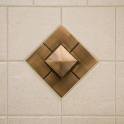 "4"" Solid Bronze Wall Tile with Pyramid Design - Customize your bath or kitchen with this solid bronze wall tile. It features a modern pyramid design and is available with an optional tile frame."
