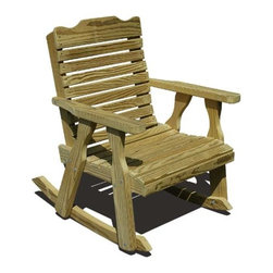 Fifthroom - Treated Pine Crossback Rocking Chair - The Crossback takes the traditional style of rockers and raises the bar. With the slightly higher back, deep seating, and a contoured back this chair is truly the top of its class. The large head board adds the final touch to this modern day classic.