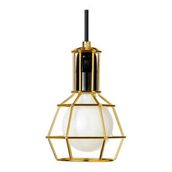 Work Lamp - Bring the utility light out of the body shop and into your home with this industrial pendant light. Available in chrome or gold.