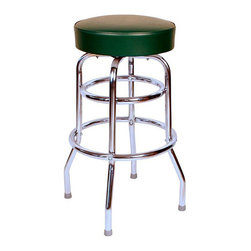 "Richardson Seating - Richardson Seating Retro 1950s 30"" Backless Swivel Bar Stool with Green Seat - Richardson Seating - Bar Stools - 1952GRN - Richardson Seating Floridian's Floridian collection ships within 2 business days as quick ship items. The 50's retro look bar stool collection is back with added comfort and stylish design. The Floridian collection are commercial bar stools made in the USA and equally ideal for residential use."
