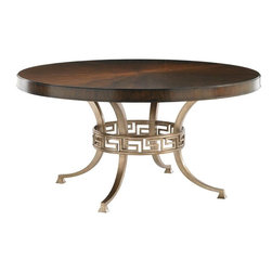 Lexington - Lexington Tower Place Regis Round Dining Table - Cathedral Walnut, featured in a radial matched pattern, adorns the top and is continued down the sides, while gold leaf metal base with Greek key design sits below.