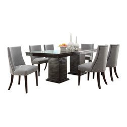Homelegance - Homelegance Chicago 7-Piece Pedestal Dining Room Set in Deep Espresso - Design elements from traditional to mid-century modern are delicately balanced in the sophisticated Chicago collection. This deep Espresso finished dining group takes the uniquely routed accent of the apron and Double pedestal table base and applies it to the accompanying server. The shape of the chairs conforms to your body, providing comfort and maximum style. From the grand sweep of the arms to The traditional nail-head accent, this chair is the ultimate in sophistication. The server features tassel drop pull hardware in a nickel finish and features door storage.