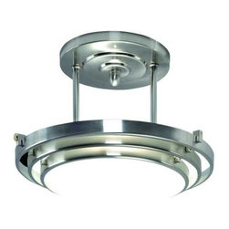 Quoizel Lighting - Semi-Flush Ceiling Light - EL1285CB - A soft chrome finish accentuates the smooth metalwork of this modern-style semi-flush ceiling fixture, shaped into three rings, which are suspended down 10 inches from a central disk. Bright light radiates from behind the opal etched glass. This futuristic fixture offers generous illumination and is ideal in a hallway, kitchen, or closet. Has a 16-inch diameter. Takes (1) 300-watt halogen T3 bulb(s). Bulb(s) sold separately. ETL listed. Dry location rated.