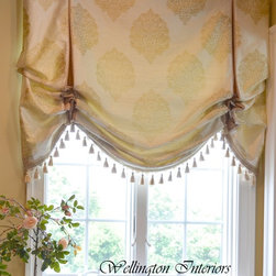 Custom Window Treatments - Custom London Shade valance using Stout Fabrics and Lady Ann trims
