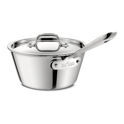 All-Clad - All-Clad Stainless Steel 2.5 Qt. Windsor Pan w/Lid - Originally designed to meet the demands of professional chefs, All-Clad continues to be the undisputed choice in four-star kitchens throughout the world. The cookware has exquisite lines, impeccable balance, meticulous hand-finishing, and superior heat-conductivity. The cookware features a unique metal bonding construction in which a thick core of three separate layers of aluminum is sandwiched between an easy-to-clean, highly polished stainless steel cooking surface and a magnetic stainless steel exterior. The aluminum core retains heat and evenly distributes it along the bottom and up the sidewalls of the cookware, eliminating hot spots when cooking. The stainless interior is stick-resistant and cleans easily. The magnetic stainless steel exterior gives the cookware a gleaming finish and allows it to be used on conventional gas and electric ranges, as well as on induction cooktops. The Windsor sauce pan is just the right size and shape for preparing sauces; it has angled sides to help reduce sauces quickly. The sauce pan has a long, stay-cool handle attached with non-corrosive, stainless steel rivets and a lid fashioned from polished stainless steel that fits even with the pan's edges to seal in the flavour of foods. The size is stamped on the bottom of the pan for quick identification.