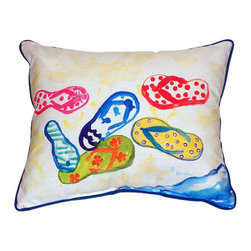 """Betsy Drake - Betsy Drake Six Flip Flops Pillow- Indoor/Outdoor - Six Flip Flops"""" - Large indoor/outdoor pillow. These versatile pillows are equally at home enhancing a seaside interior design or adding coastal charm to an outdoor setting. They feature printed outdoor"""