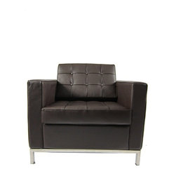 Fine Mod Imports - Button Brown Leather Arm Chair - Features: