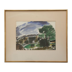 Park Watercolor - Consigned Vintage Artwork - Striking vintage landscape with bold color and form. Unsigned. Displayed in a giltwood frame.